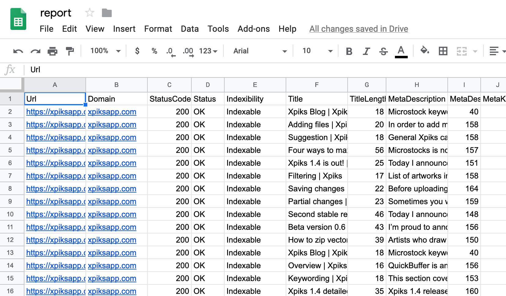 Google Sheets report